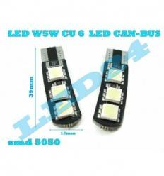 Pachet 10 buc W5W 6 SMD 5050 3 pe fiecare parte CanBus