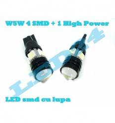 W5W cu 4 SMD 5050 + 1 SMD high power
