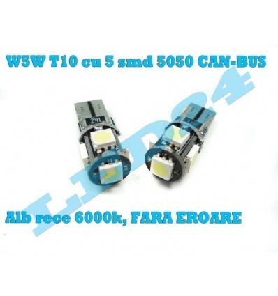 LED W5W T10 cu 5 SMD 5050 CANBUS