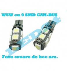 LED W5W T10 cu 9 SMD 5050 CANBUS