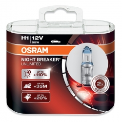 Set becuri H1 Night Breaker Unlimited 110% Osram 64150NBU-HCB