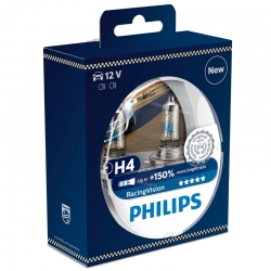 Set becuri H4 Philips Racing Vision 150% 12342RVS2