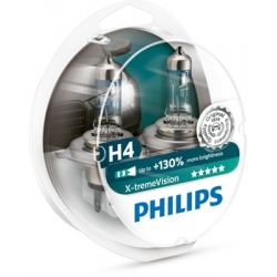 Set becuri H4 X-treme Vision 130% Philips 12342XV+S2