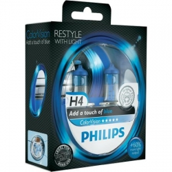 Set becuri H4 Philips Color Vision Blue 12342CVPBS2